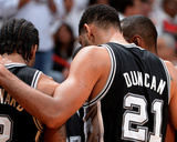 2014 NBA Finals Game Three: Jun 10, Miami Heat vs San Antonio Spurs - Tim Duncan, Kawhi Leonard Photographic Print by Andrew Bernstein