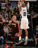 2014 NBA Finals Game Five: Jun 15, Miami Heat vs San Antonio Spurs - Patty Mills, Michael Beasley Photographic Print by Andrew Bernstein