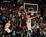 2014 NBA Finals Game Five: Jun 15, Miami Heat vs San Antonio Spurs - LeBron James, Tim Duncan Photographic Print by Jesse D. Garrabrant