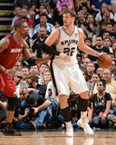 2014 NBA Finals Game One: Jun 5, Miami Heat vs San Antonio Spurs - Chris Bosh, Tiago Splitter Photographic Print by Andrew Bernstein