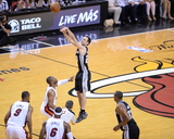 2014 NBA Finals Game Three: Jun 10, Miami Heat vs San Antonio Spurs - Manu Ginobili Photographic Print by Noah Graham