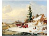 Habitants by a Frozen River Poster van Cornelius Krieghoff
