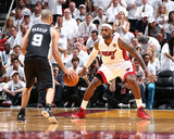 2014 NBA Finals Game Three: Jun 10, Miami Heat vs San Antonio Spurs - LeBron James, Tony Parker Photographic Print by Nathaniel S. Butler