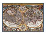 Karte von der Welt II Kunstdruck