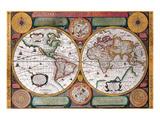 Antique Map, Terre Universelle, 1594 Poster av Petro Plancio