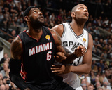 2014 NBA Finals Game Two: Jun 8, Miami Heat vs San Antonio Spurs - LeBron James, Boris Diaw Photographic Print by Andrew Bernstein