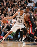 2014 NBA Finals Game Two: Jun 8, Miami Heat vs San Antonio Spurs - Tim Duncan, Chris Bosh Photographic Print by Andrew Bernstein