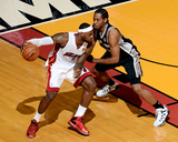 2014 NBA Finals Game Three: Jun 10, Miami Heat vs San Antonio Spurs - Kawhi Leonard, LeBron James Photographic Print by Garrett Ellwood