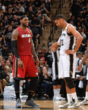 2014 NBA Finals Game One: Jun 5, Miami Heat vs San Antonio Spurs - LeBron James, Tim Duncan Photographic Print by Jesse D. Garrabrant