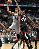 2014 NBA Finals Game Five: Jun 15, Miami Heat vs San Antonio Spurs - Tim Duncan, Udonis Haslem Photographic Print by Andrew Bernstein