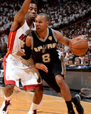 2014 NBA Finals Game Four: Jun 12, Miami Heat vs San Antonio Spurs - Patty Mills, Norris Cole Photographic Print by Andrew Bernstein