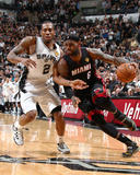 2014 NBA Finals Game Five: Jun 15, Miami Heat vs San Antonio Spurs - LeBron James, Kawhi Leonard Photographic Print by Nathaniel S. Butler
