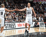 2014 NBA Finals Game Five: Jun 15, Miami Heat vs San Antonio Spurs - Manu Ginobili, Tony Parker Photographic Print by Andrew Bernstein