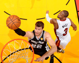 2014 NBA Finals Game Four: Jun 12, Miami Heat vs San Antonio Spurs - Tiago Splitter, Dwyane Wade Photo by Andrew Bernstein