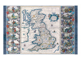 Antique Map, Britannia, Ca. 1646 Art by Jan Jansson