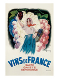 Vins de France: Sante, Gaiete, Esperance Prints by Antoine Galland