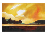 Yellow Sky over the Lake Poster by Judith D'Agostino