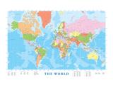 Wereldkaart met Engelse tekst Schilderij