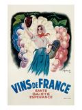 Vins de France: Sante, Gaiete, Esperance Poster by Antoine Galland