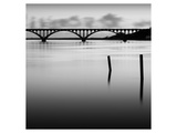 Bridge and Poles in Black and White Konst av Shane Settle