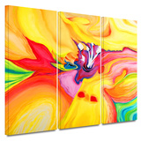 Secret Life of Lily 3 piece gallery-wrapped canvas Posters by Susi Franco