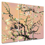 3-Piece Interpretation in Eggshell Almond Blossom 3 piece gallery-wrapped canvas Prints by Vincent van Gogh