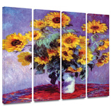 Sunflowers 4 piece gallery-wrapped canvas Gallery Wrapped Canvas Set by Claude Monet
