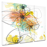 Orange Botanica 3 piece gallery-wrapped canvas Art by Jan Weiss