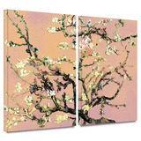 3-Piece Interpretation in Eggshell Almond Blossom 2 piece gallery-wrapped canvas Prints by Vincent van Gogh