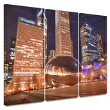 Chicago- The Bean I 3 piece gallery-wrapped canvas Poster by Dan Wilson