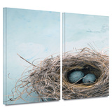 Blue Nest 2 piece gallery-wrapped canvas Posters by Elena Ray