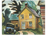 Farmhouse and Car Poster by Prudence Heward