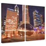Chicago- The Bean I 2 piece gallery-wrapped canvas Gallery Wrapped Canvas Set by Dan Wilson