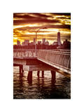 Jetty View with NYC and One World Trade Center (1WTC) at Red Sunset Photographic Print by Philippe Hugonnard