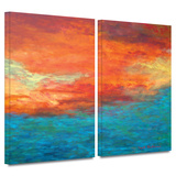 Lake Reflections II 2 piece gallery-wrapped canvas Art by Herb Dickinson