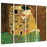The Kiss 4 piece gallery-wrapped canvas Posters by Gustav Klimt