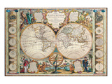 Antique Map, Mappe Monde, 1755 Poster by Jean-baptiste Nolin