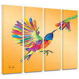 Humming 4 piece gallery-wrapped canvas Poster by Linzi Lynn