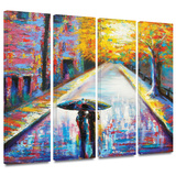 Paris Back Street Magic 4 piece gallery-wrapped canvas Print by Susi Franco