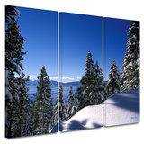 Lake Tahoe in Winter 3 piece gallery-wrapped canvas Poster by Kathy Yates