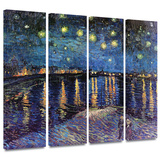 Starry Night over the Rhone 4 piece gallery-wrapped canvas Prints by Vincent van Gogh