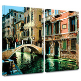 Venice Canal 2 piece gallery-wrapped canvas Poster by George Zucconi