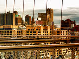 View of Brooklyn Bridge of the Watchtower Building at Sunset Photographic Print by Philippe Hugonnard