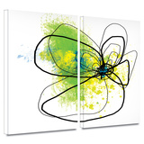 Citron Petals 2 piece gallery-wrapped canvas Art by Jan Weiss