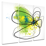 Citron Petals 3 piece gallery-wrapped canvas Art by Jan Weiss