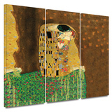 The Kiss 3 piece gallery-wrapped canvas Prints by Gustav Klimt