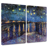 Starry Night over the Rhone 2 piece gallery-wrapped canvas Art by Vincent van Gogh