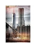 Instants of NY Series - View of Brooklyn Bridge with the One World Trade Center Photographic Print by Philippe Hugonnard