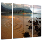 Hanalei Bay at Dawn 4 piece gallery-wrapped canvas Poster by Kathy Yates