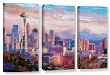 Seattle Skyline with Space Needle 3 piece gallery-wrapped canvas Posters by Markus Bleichner